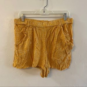 Divided Yellow & White Printed Lightweight Shorts